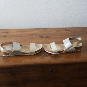 Sandals size 11 gold and silver